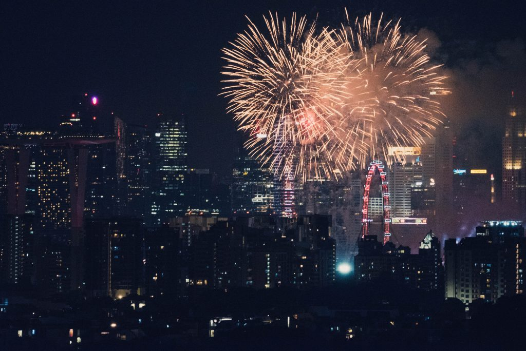 Fireworks by the city.