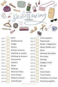 Contoh daftar checklist barang yang dapat dijadikan acuan dalam decluttering. Sumber: glitterguide.com